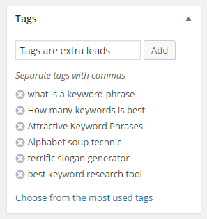Tags are extra leads