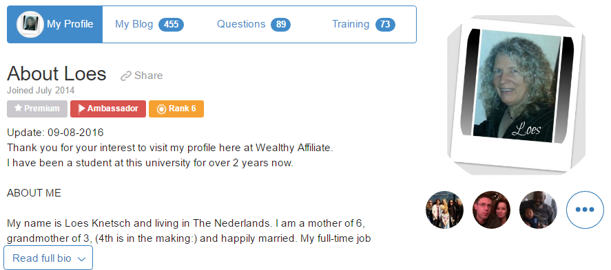Wealthy Affiliate profile page