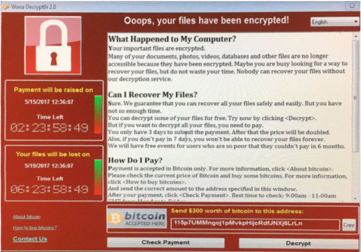 Wannacry ransom note
